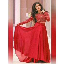 39ccced6fe3236 Anupama Parameswaran in Red Colored Georgette Lehenga With Beautiful Red  Crop Top