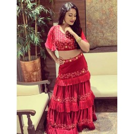 48f14a5831d169 Surbhi Chandna In Maroon Colored Three Layer Lehenga With Beautiful Crop Top  | grabandpack.com