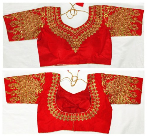 Ready made Red Heavy Malbari Silk embroidered Blouse online gnp006532 (Blouses)