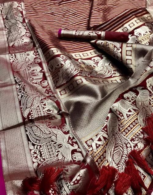 kanchipuram silk saree in maroon