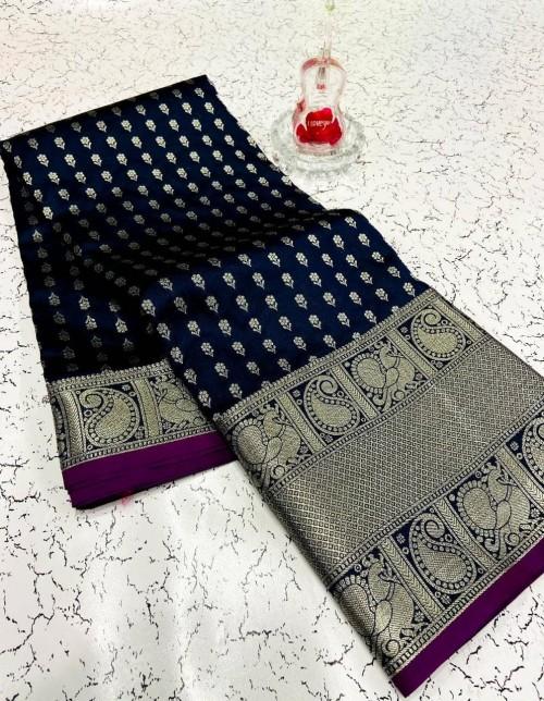 Fashionable blue banarasi silk saree