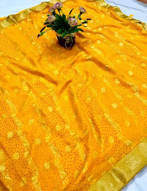 Yellow Coloured Chiffon saree