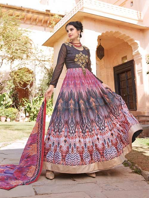 Brown colored Gorgeous Printed Banglori Silk Anarkali Suit.