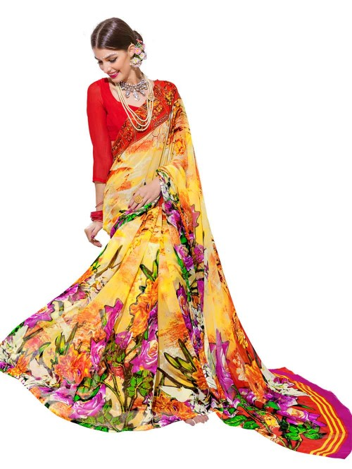 Yellow Color floral Printed weightless saree with Blouse