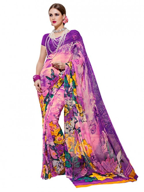 Pink Color floral Printed weightless saree with Blouse