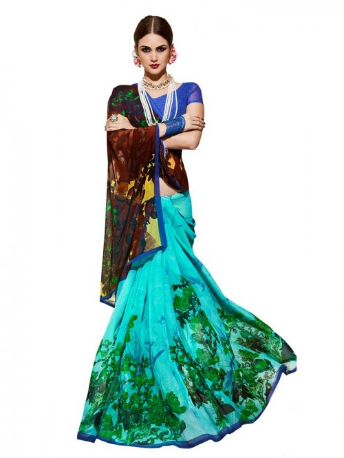 Blue Color floral Printed weightless saree with Blouse