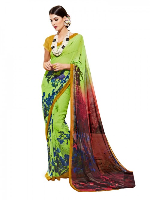 Green Color floral Printed weightless saree with Blouse