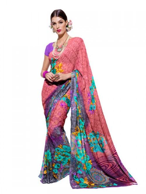 Pink Color Beautiful floral Printed weightless saree with Blouse