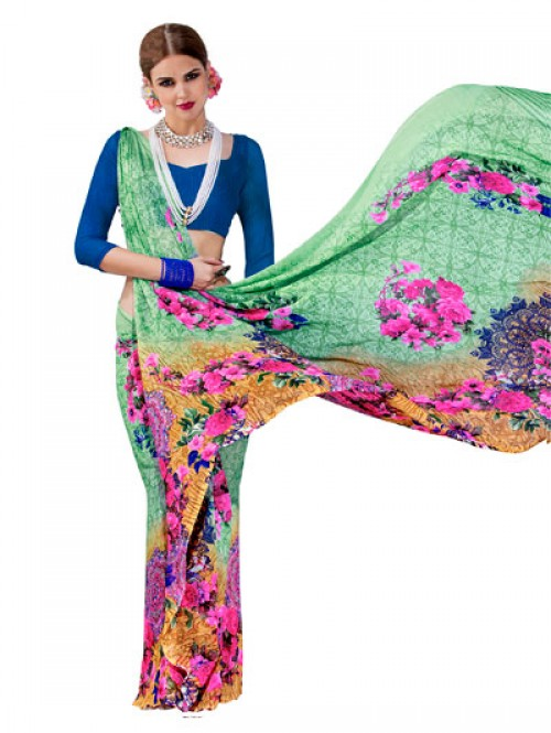 Green Color Beautiful floral Printed weightless saree with Blouse