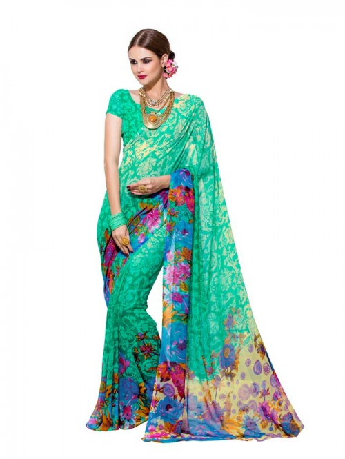 Sea Green Color floral Printed Beautiful weightless saree with Blouse