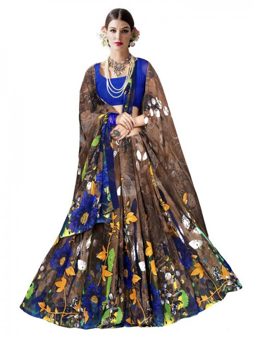 Brown Color floral Printed Beautiful weightless saree with Blouse