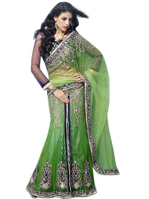 Green Colored Heavy Stone Work and Embroidered Fancy Net Lehenga With satin Inner.