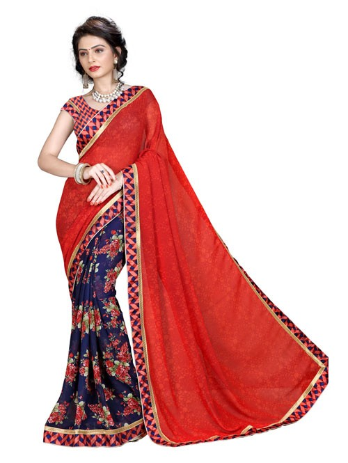 Red Color Beautiful Designer printed saree
