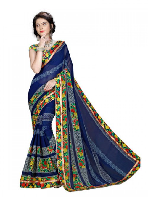 Blue Color Beautiful Designer printed saree