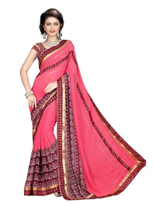 Peach Color Beautiful Designer printed saree