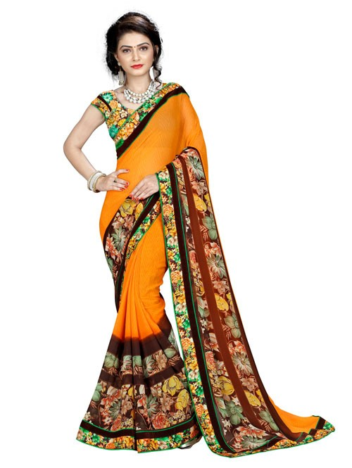 Yellow Color Beautiful Designer printed saree