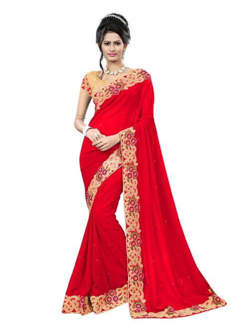 red-color-beautiful-georgette-designer-saree