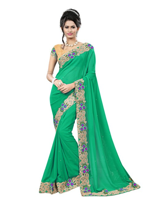 green-color-beautiful-georgette-designer-saree