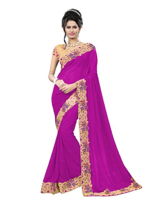 Pink Color Beautiful Georgette Designer saree