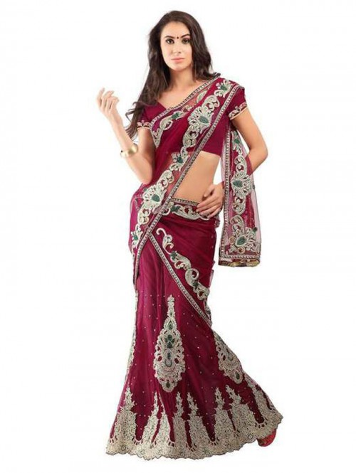 maroon Colored Net Lehenga with embroidered Net Dupatta