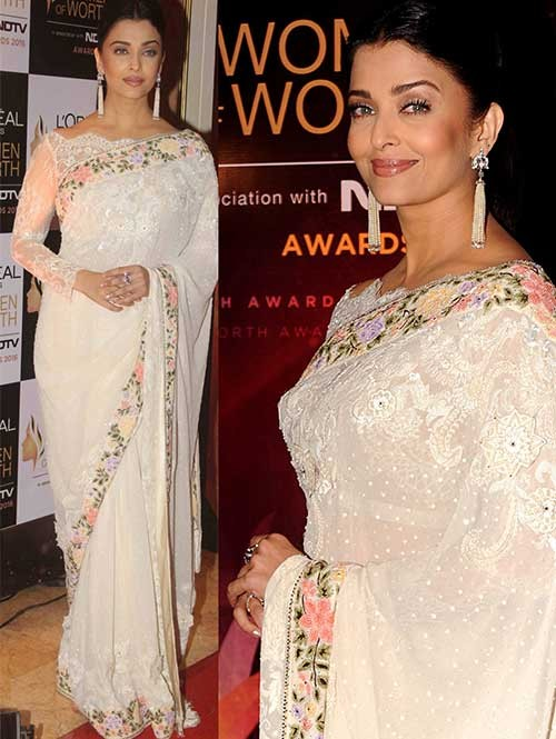 Aish Off White Colored Embroidered Georgette Saree Online
