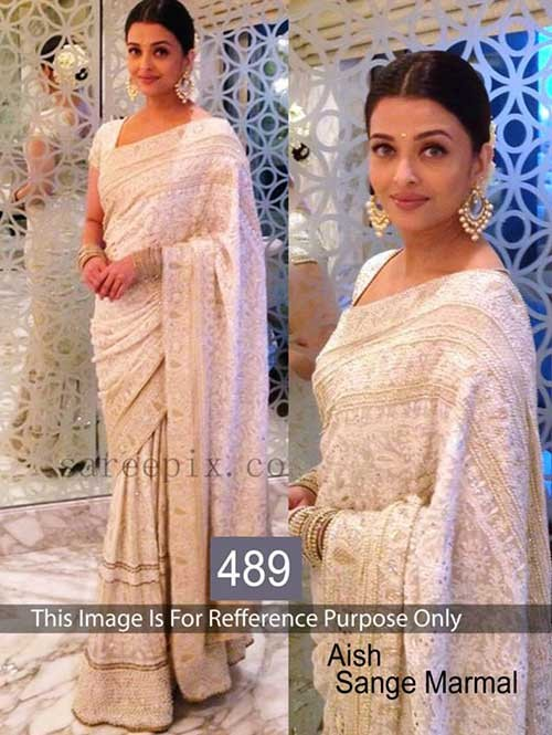 Aish Sange Malmal White Colored Beautiful Georgette Saree