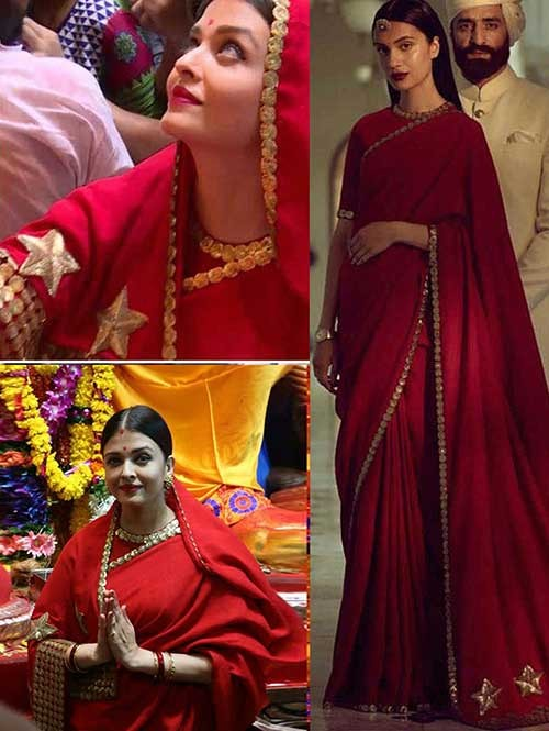 Aishvarya Rai in Red Colored Beautiful Embroidered Georgette Saree
