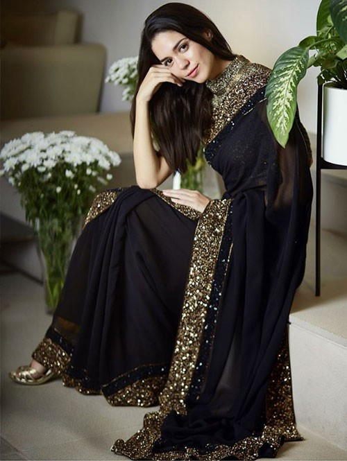 Four Different Colored Beautiful Embroidered 60 Gm Georgette Sarees