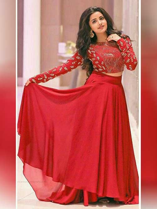 Anupama Parameswaran ‏in Red Colored Georgette Lehenga With Beautiful Red Crop Top