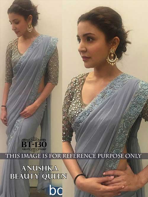 Anushka Grey Color Georgette Saree Online