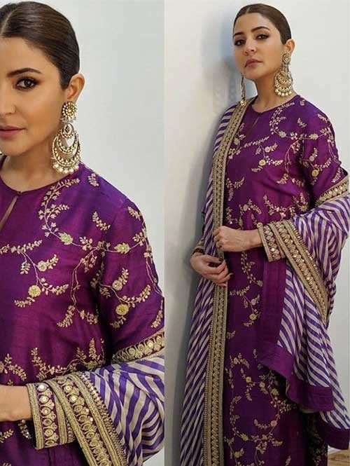 Anushka Sharma in Purple Colored Beautiful Embroidered Long Salwar Suit