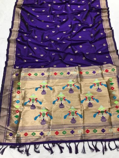 Appealing Blue Kanchipuram woven saree