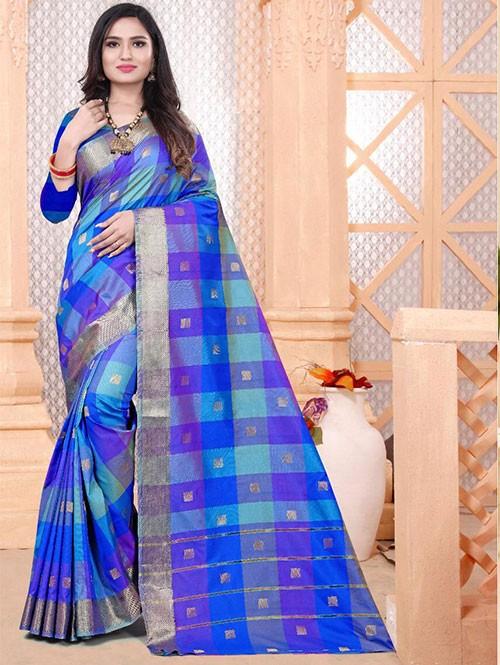 Banarasi Silk With Soft Texture Chex Style Saree - gnp008402