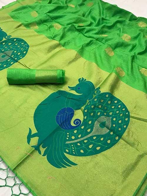 Beautiful Banarasi Saree Have Beautiful Peacock Work on Pallu-Lime