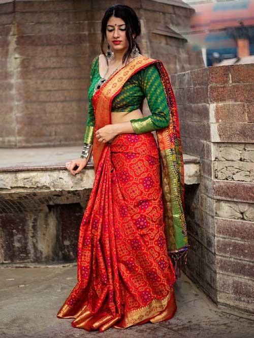 2e00d7d4ff2 Beautiful Colored Heavy Banarasi Silk Saree With Fancy Blouse