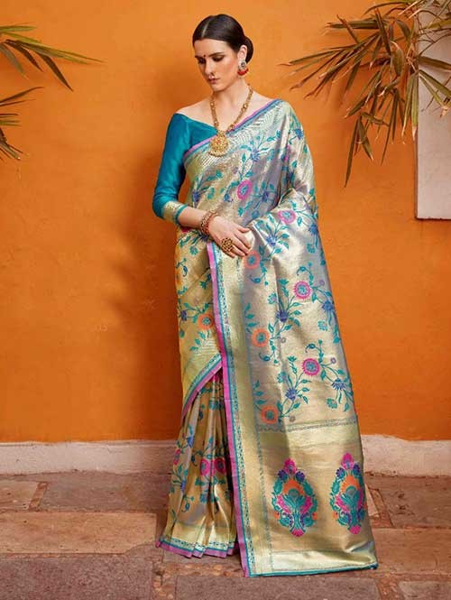 Beautiful Colored Paithani Pure Silk Traditional Saree