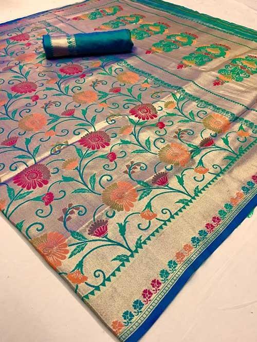 Beautiful Colored Paithani Pure Silk Traditional Saree - Komalya