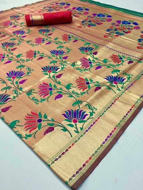 Beautiful Colored Paithani Pure Silk Traditional Saree - Komalya