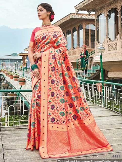 Beautiful Colored Paithani Pure Silk Traditional Saree