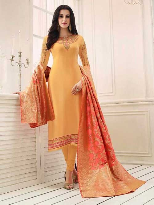 d290b6bc303 ... Beautiful Heavy Embroidered Georgette Salwar Suit-Yellow. Yellow