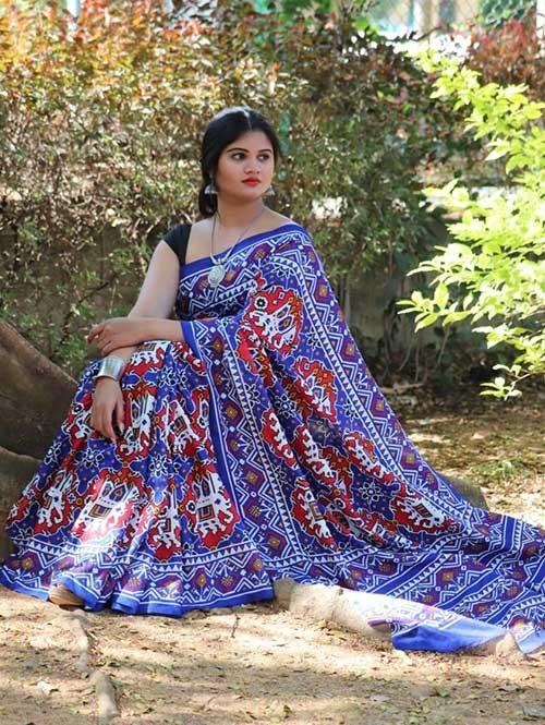 Beautiful Linen Chanderi With beautiful Ikat Prints Sarees
