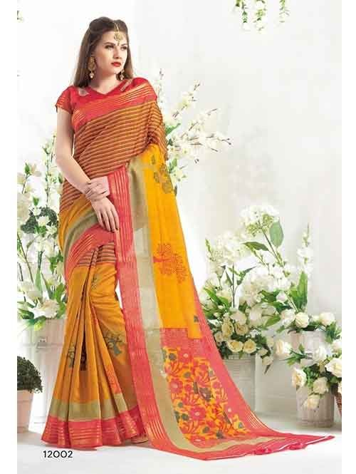 Beautiful Multi Colored Blended Cotton Printed Saree