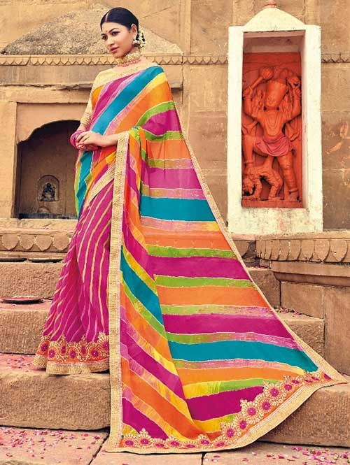 Beautiful Pink Colored Beautiful Embroidered Georgette Leheriyaa Pattern Printed Saree