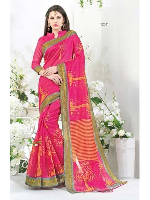 Beautiful Pink Colored Blended Cotton Printed Saree