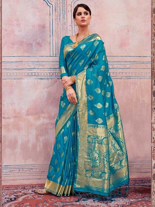 Beautiful Weaving Top Dyed Silk Sarees with Tassels And Enigmatic Blouse