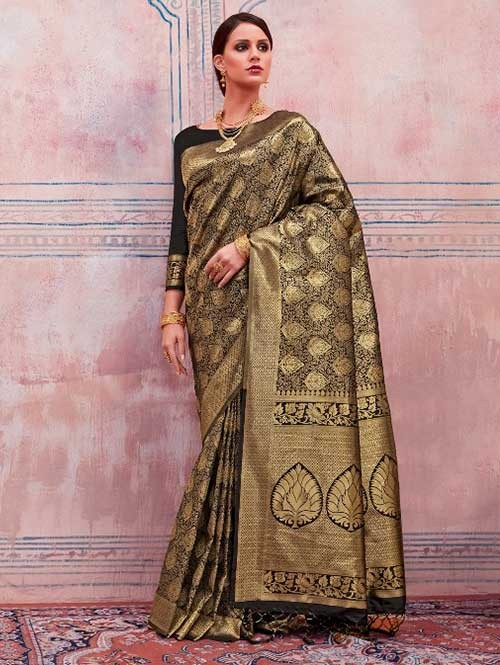 Beautiful Weaving Top Dyed Silk Sarees with Tassels And Enigmatic Blouse-Black