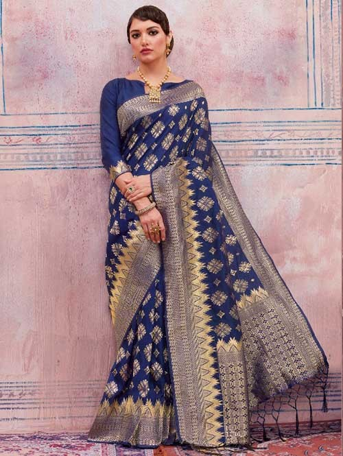 Beautiful Weaving Top Dyed Silk Sarees with Tassels And Enigmatic Blouse-Navy