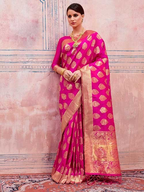 Beautiful Weaving Top Dyed Silk Sarees with Tassels And Enigmatic Blouse-Pink
