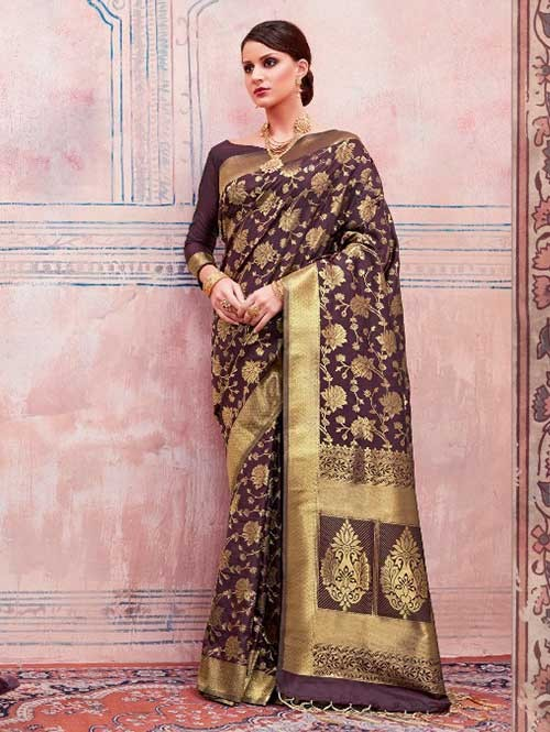 Beautiful Weaving Top Dyed Silk Sarees with Tassels And Enigmatic Blouse-Brown