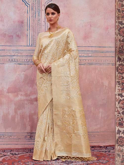 Beautiful Weaving Top Dyed Silk Sarees with Tassels And Enigmatic Blouse-Off White